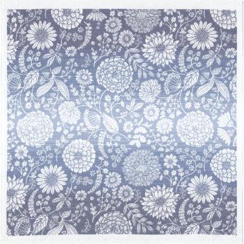Centro tavola quadrato blu con fiori