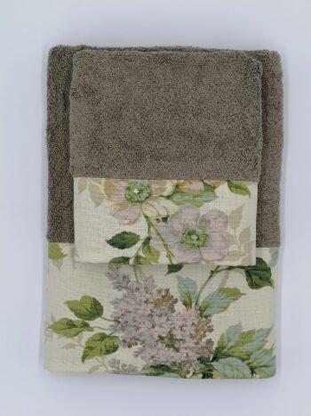 Asciugamano bordato grigio