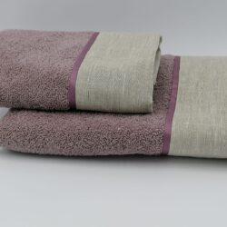 Coppia di asciugamani prugna con bordo lino avorio