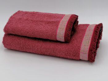 Coppia di asciugamani da viso e ospite colore rosso