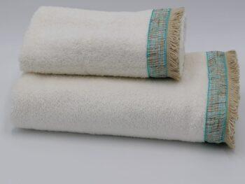 Coppia di asciugamani con frange in spugna turchese