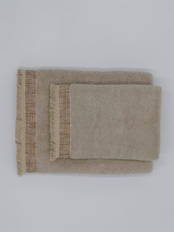 Set viso + ospite asciugamano spugna con frangia