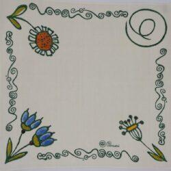 Centro tavola quadrato Pascucci stamapato a mano in lino