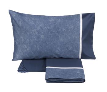 Fazzini completo letto due piazze con sotto con angoli colore blu